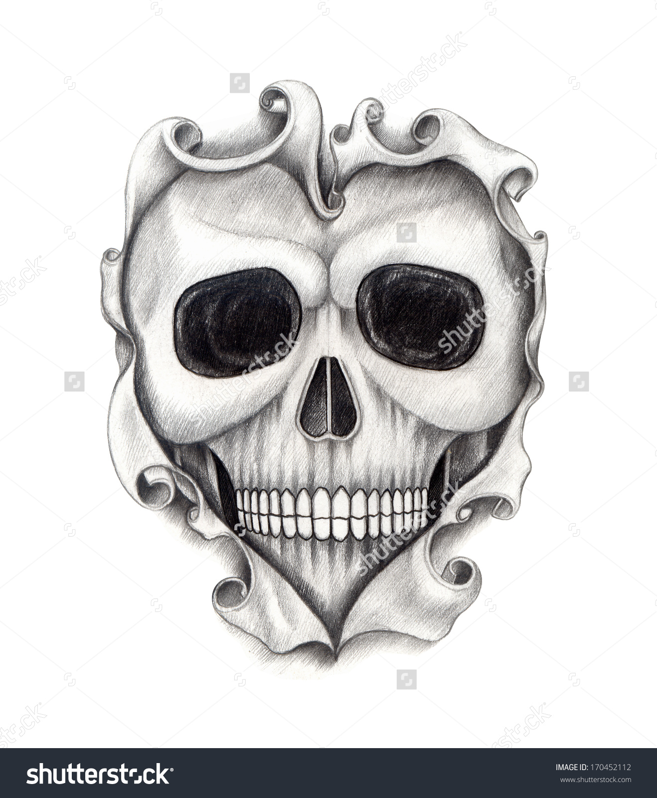 Drawn skull heart Tattoo Drawing Paper Skull