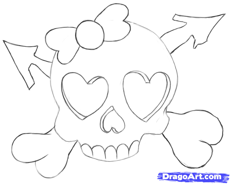 Drawn skull heart Draw heart  Step Draw