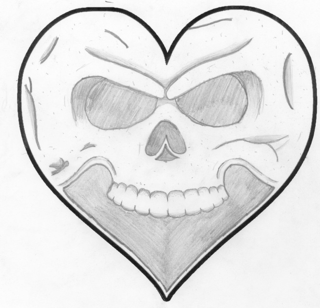 Drawn skull heart Skull by DeviantArt Heart Poetic