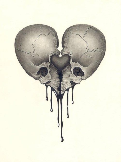 Drawn skull heart Via 368 bones skulls images