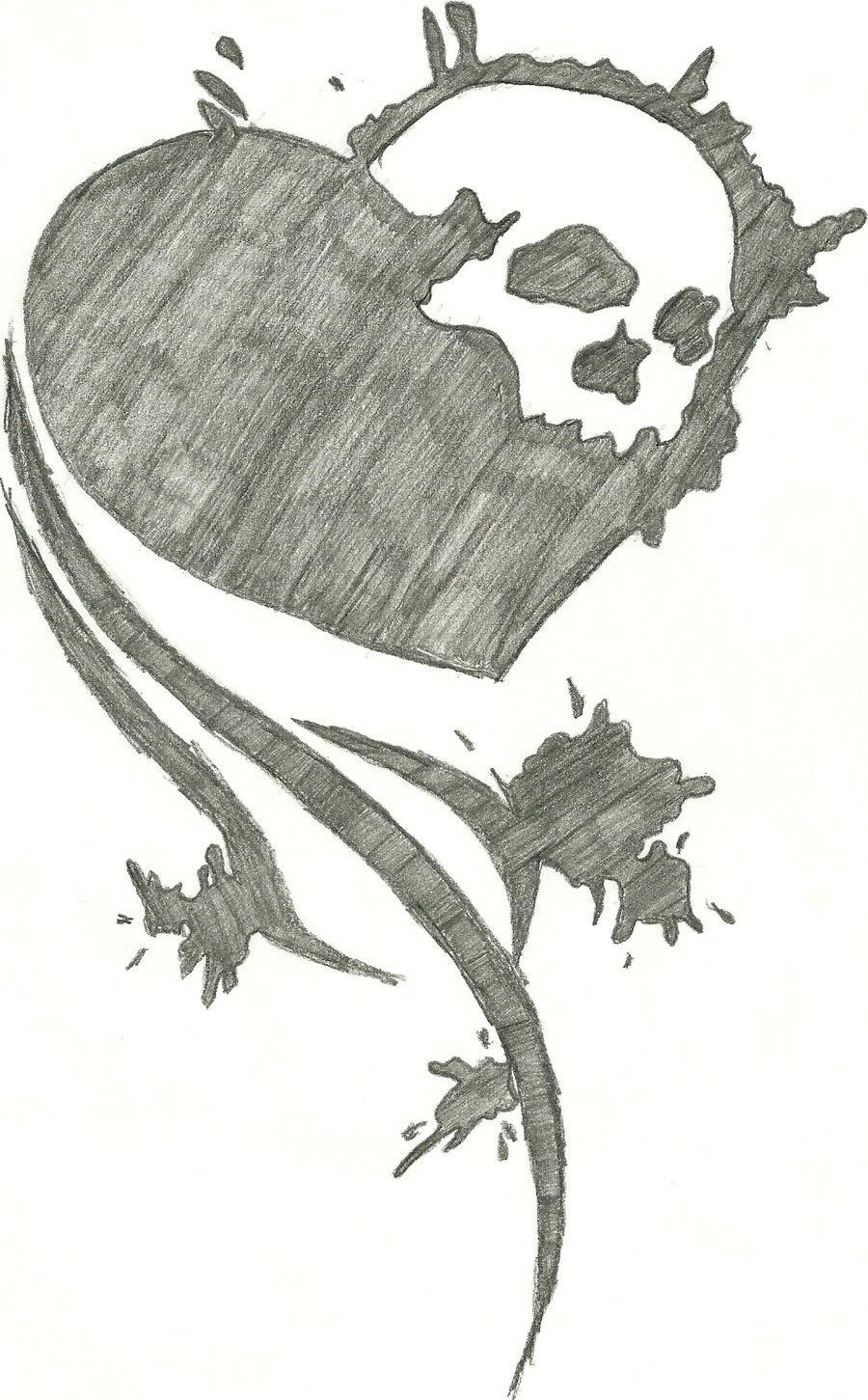 Drawn skull heart By heart splatter skull skull
