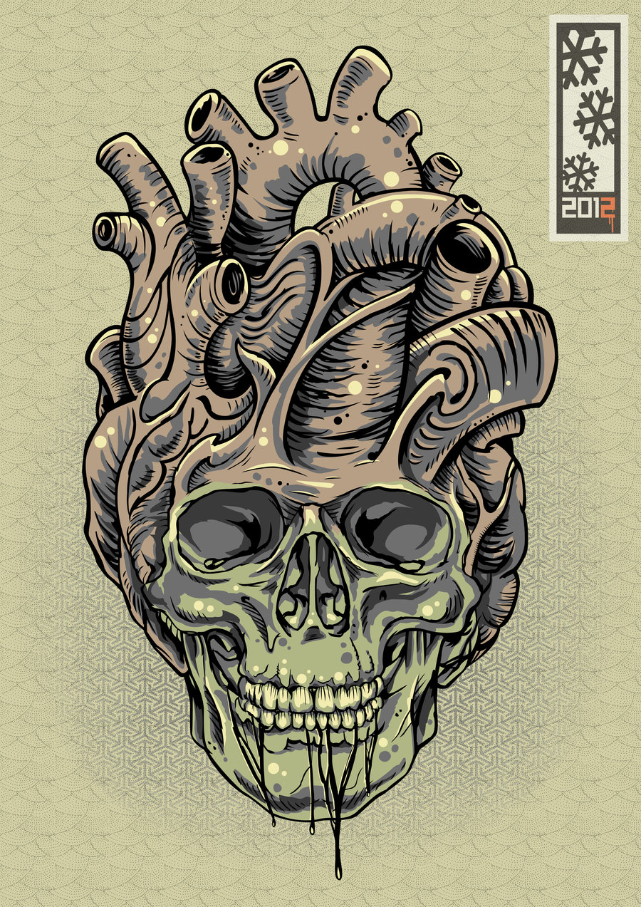 Drawn skull heart UN MUERTO  by robot