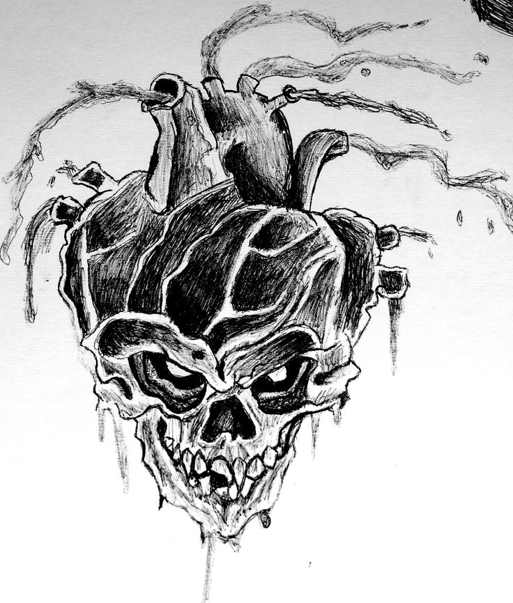 Drawn skull heart #Drawings #Pen Pinterest images best