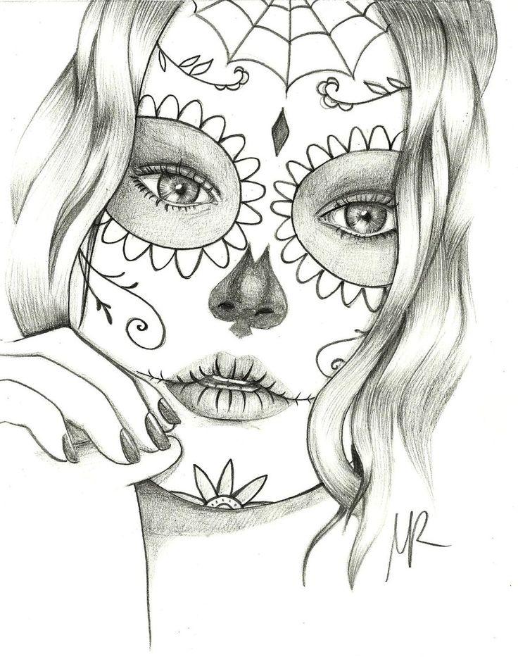 Drawn sugar skull girly Na pomysłów Pintereście skull