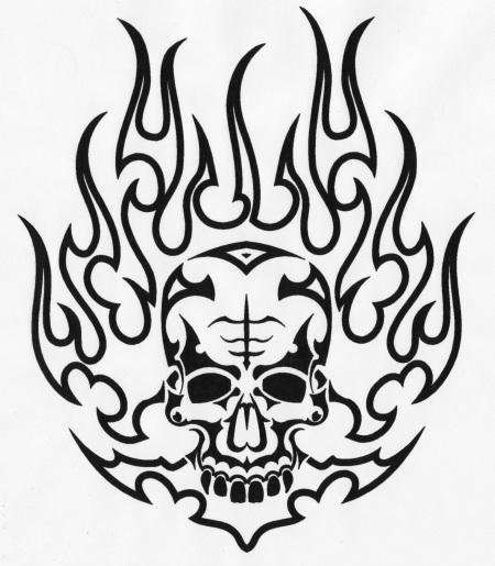 Drawn skull on fire Tattoo Image Free Clip Of