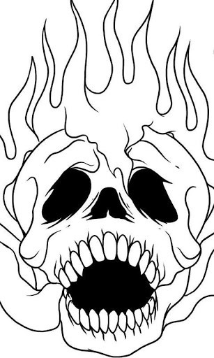Drawn skull on fire Android App Free Clip Of