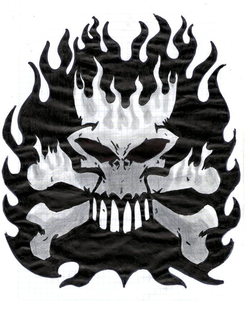 Drawn skull on fire By fire Skull EOD666 EOD666