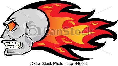 Drawn skull on fire Skull of Vector logo Illustration