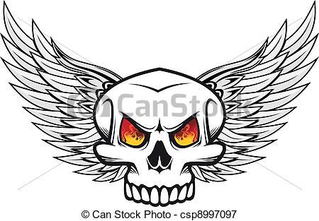 Drawn skull on fire Illustration csp8997097 Danger Skull of