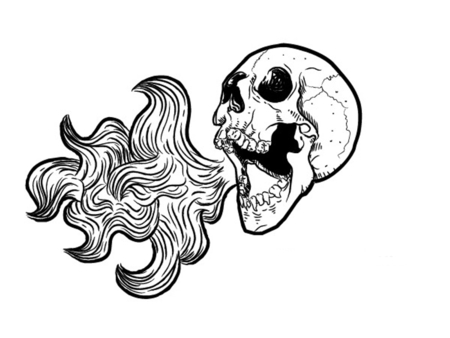 Drawn skull on fire Of Becuo  Free On