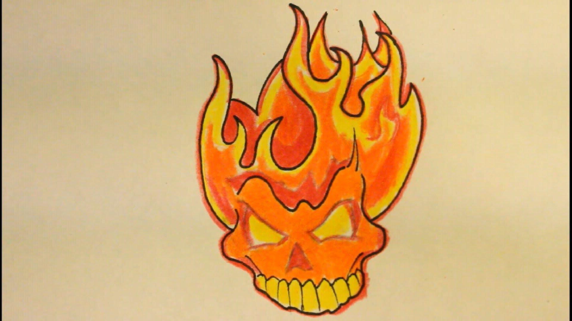 Drawn skull on fire Flames Fire Fire Skull Beginners