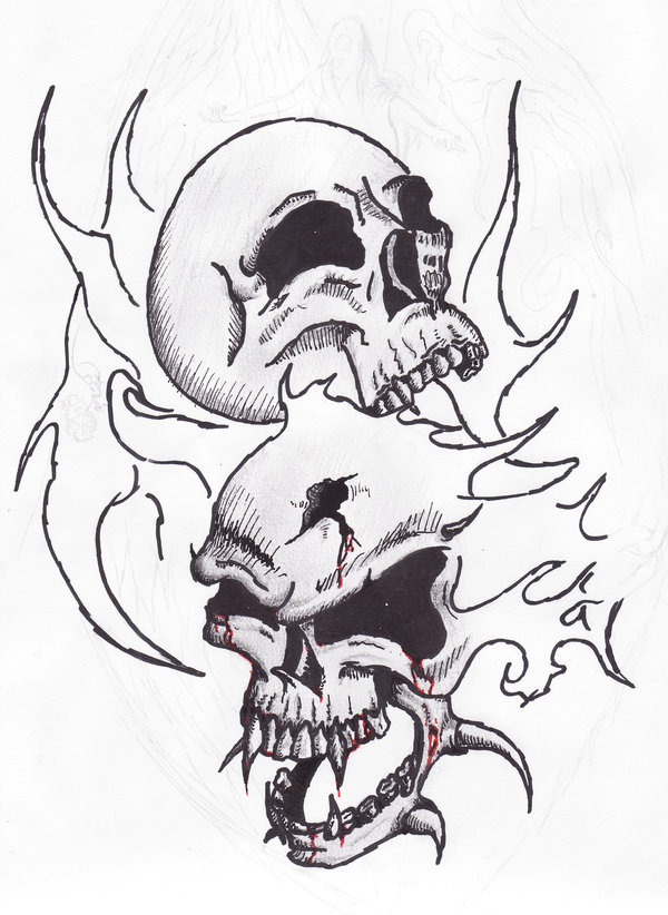 Drawn skull on fire Satroa tatoo  by coloring