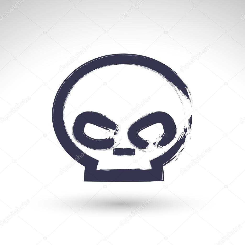 Drawn skull simple — real icon icon Brush