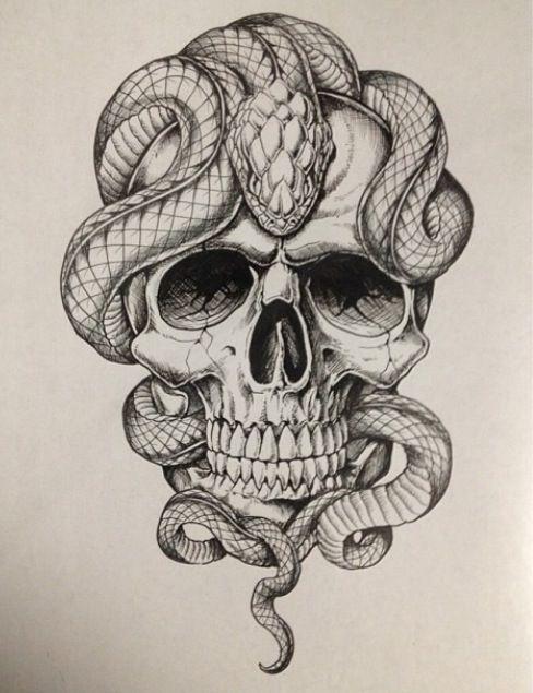 Drawn skull snake Skullery Pinterest  flash tattoo