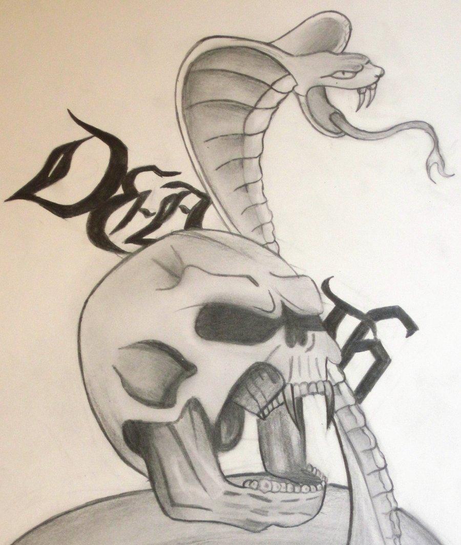 Drawn skull snake Snake drawing by Snake and