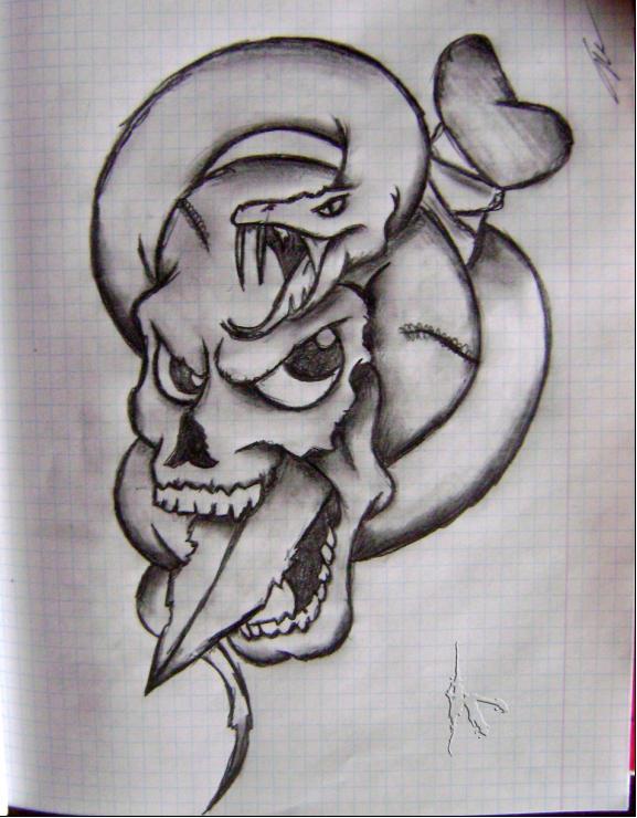 Drawn skull snake Snake And Drawing And Ildar