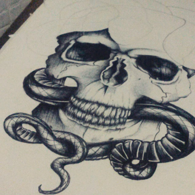 Drawn skull snake Draw on Instagram tatuagem da