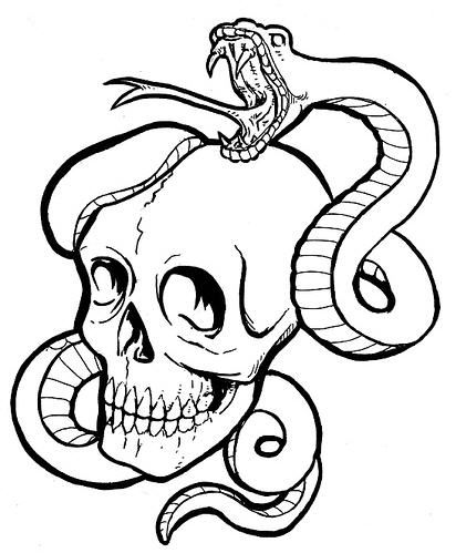 Drawn skull snake How to draw Draw To