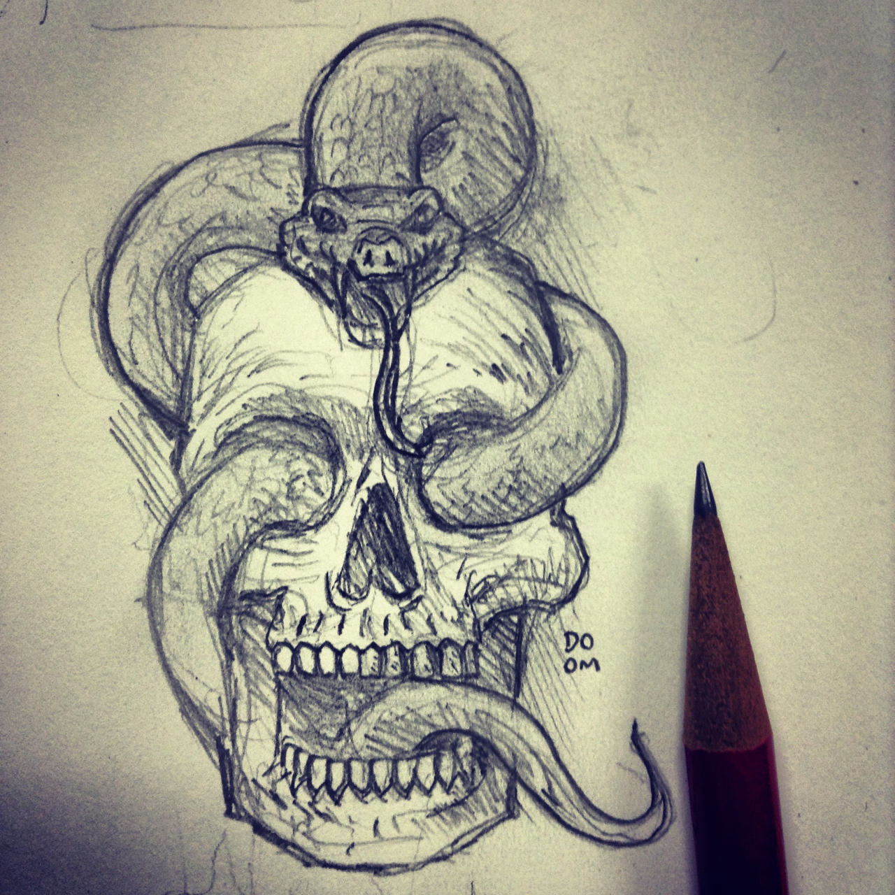 Drawn skull snake PSD  a of Snake