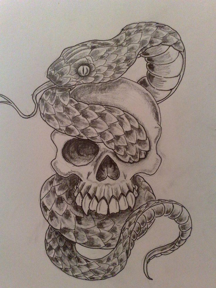 Drawn skull snake #Drawing #Skull #Art #Skull DRAWING