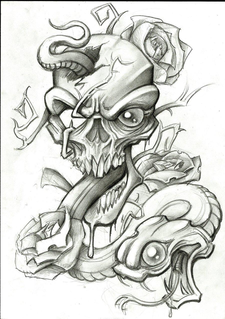 Drawn skull snake Stephcand on DeviantArt Skull and