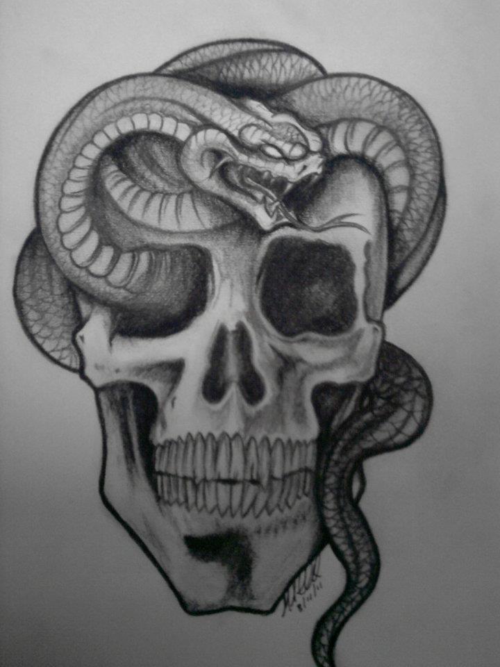Drawn skull snake Snake n by Skull by