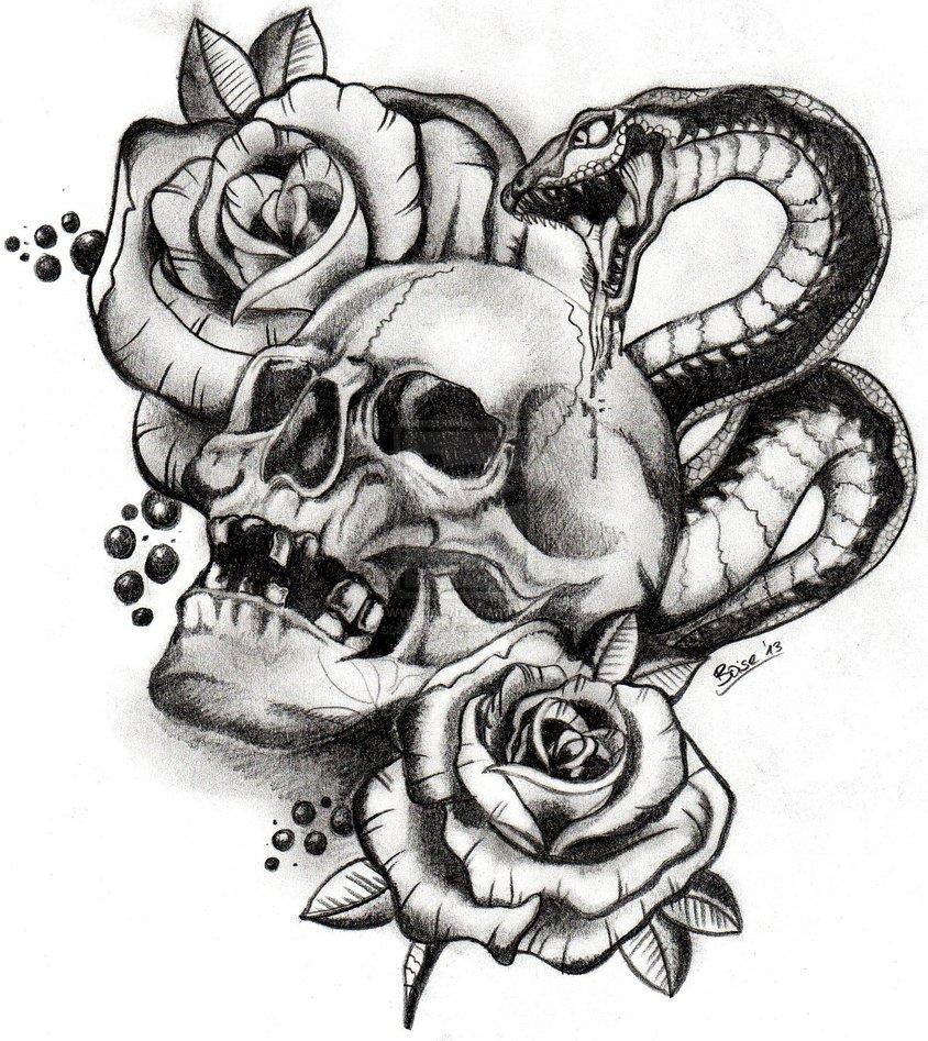 Drawn skull snake By schubert1976 on Snake And