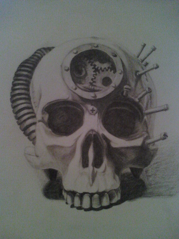 Drawn skull steampunk By on DeviantArt Steampunk Veronikica