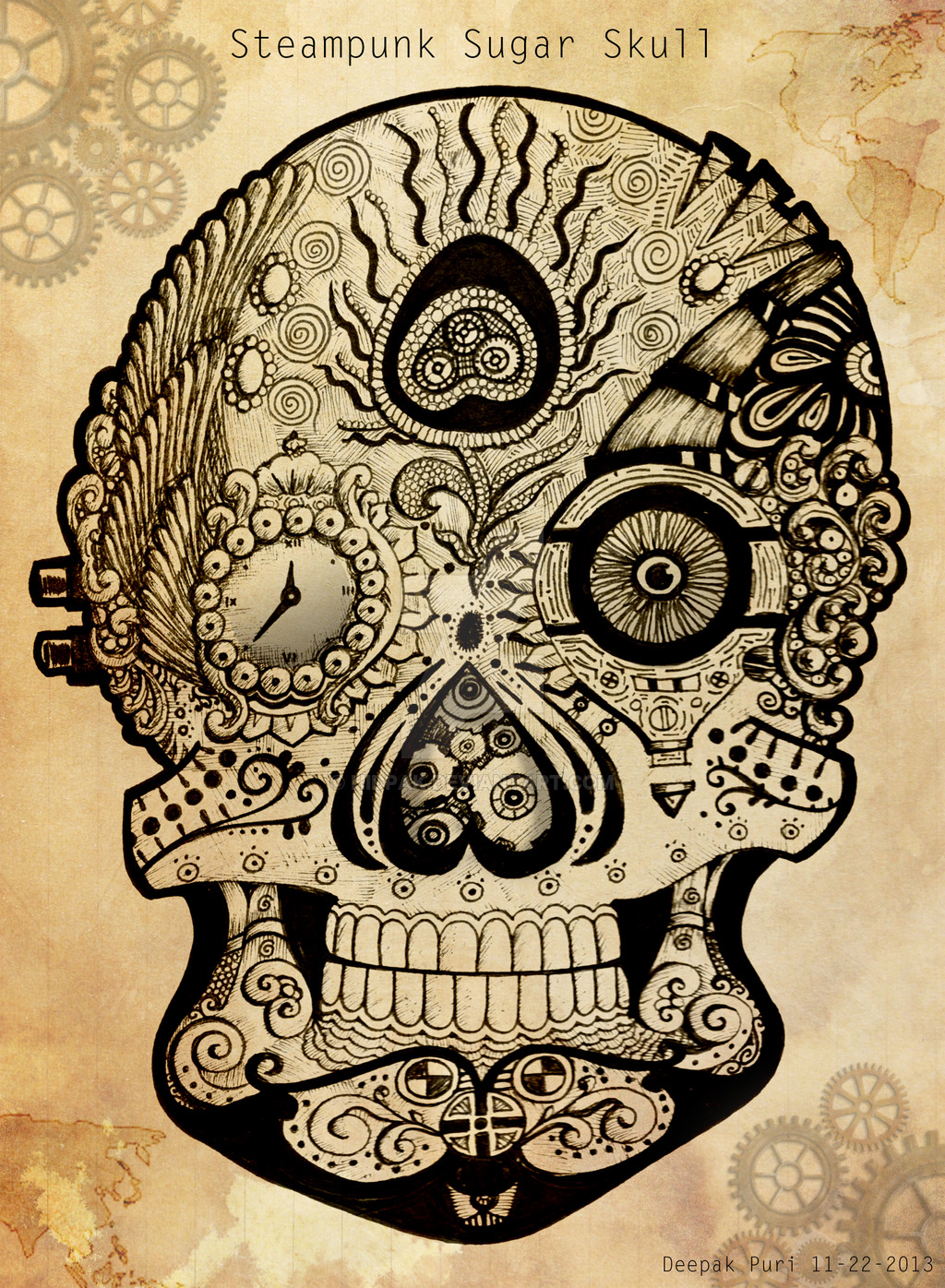 Drawn skull steampunk Skull by hidpak on Sugar