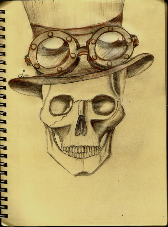 Drawn skull steampunk Drawing Pinterest Steampunk project Steampunk