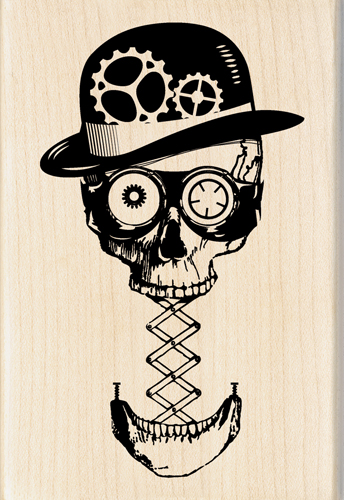 Drawn skull steampunk Collection Inkadinkado Halloween Wood Inkadinkado