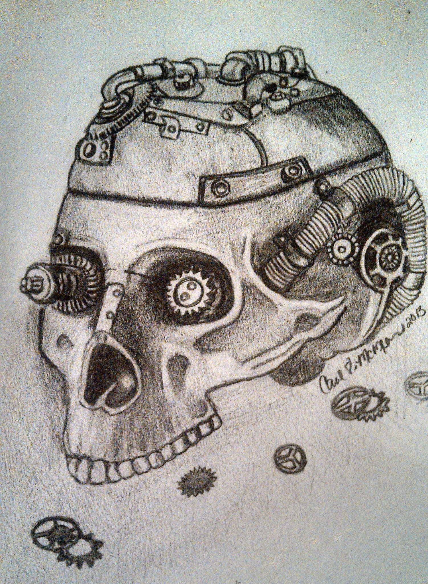 Drawn skull steampunk By Steampunk Skull ravencolored Steampunk