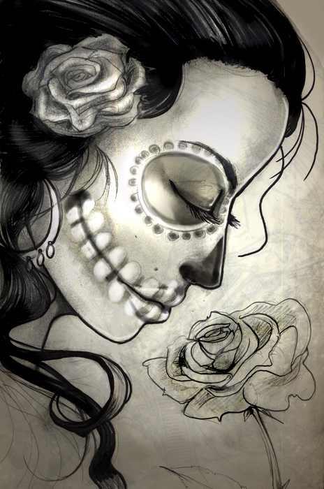 Drawn sugar skull pencil drawing Skull girl Best ideas 25+