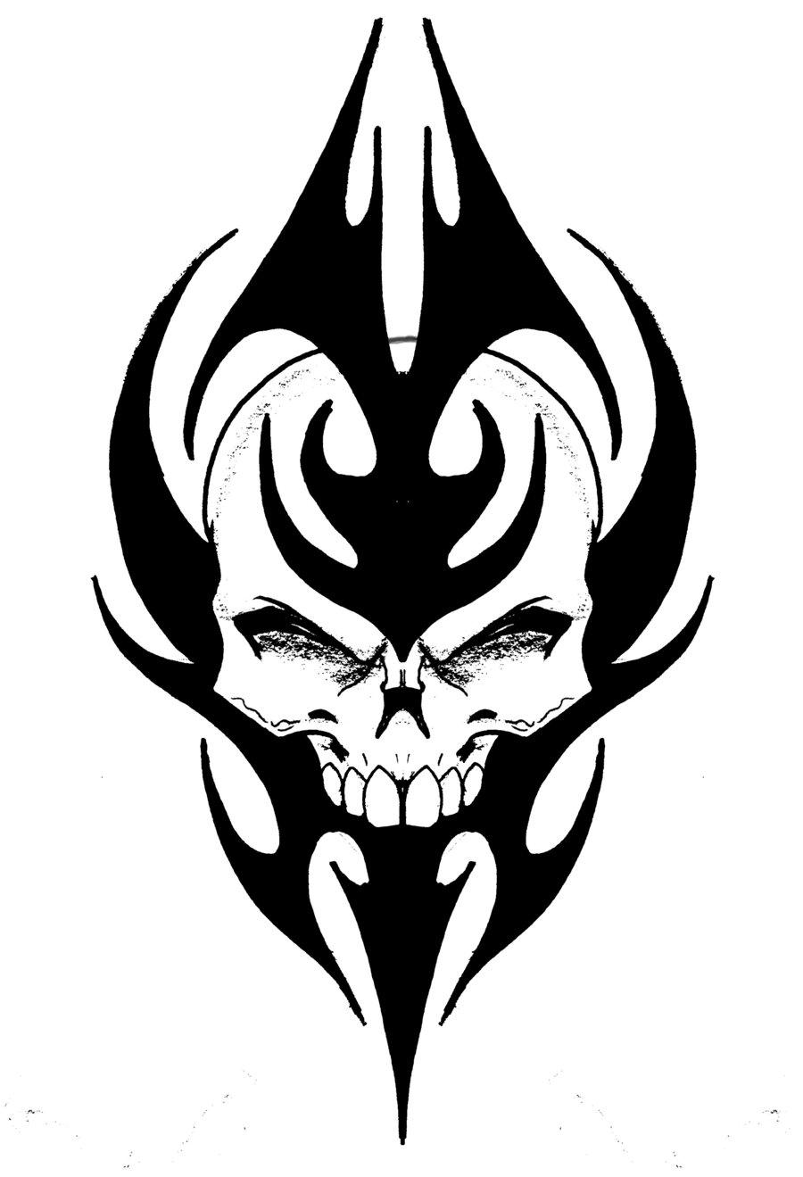 Drawn ssckull tribal Skull biomek biomek on Tribal