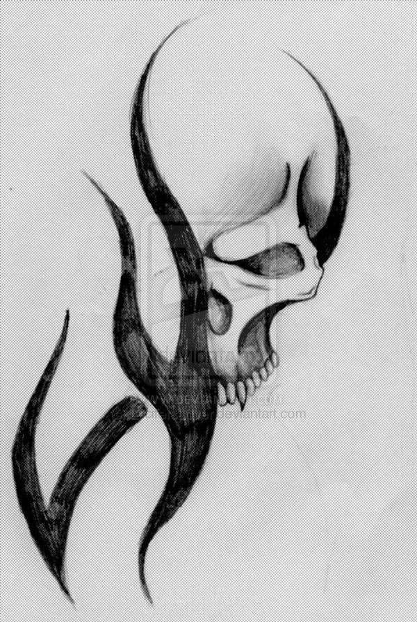 Drawn ssckull tribal Drawings Drawings Pictures Skull Demon