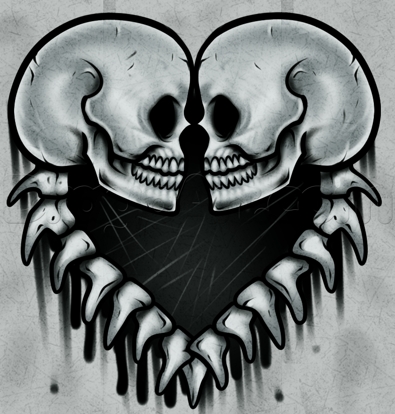 Drawn skull heart Draw Step Culture Step FREE