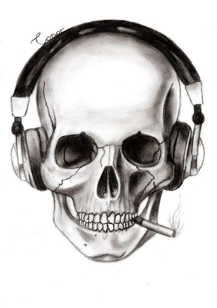 Drawn skull unique Art Skull drawings ideas headphones