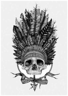 Drawn skull us army TattooWoo army Tattoo headdress Design