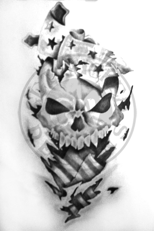 Drawn skull wicked By Designs on American B/W