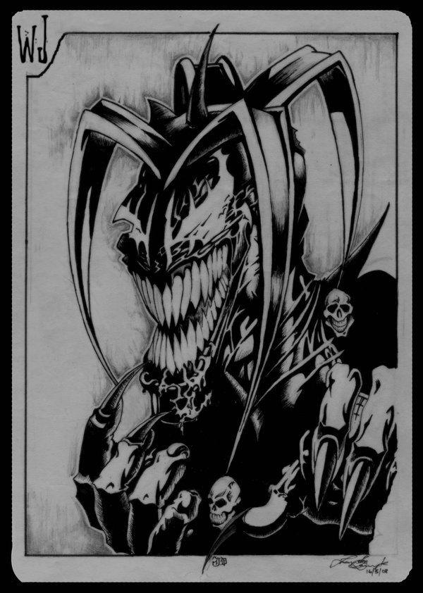 Drawn skull wicked Best jester Evil tattoo ideas