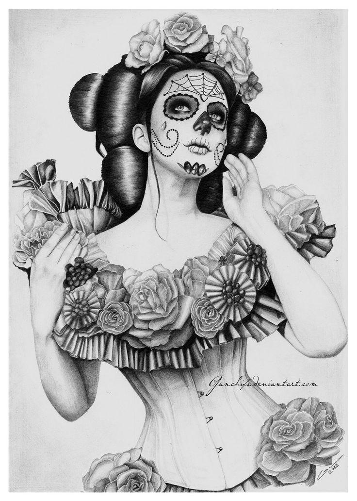 Drawn skull female skull Sugarskull about Female skulls Drawings