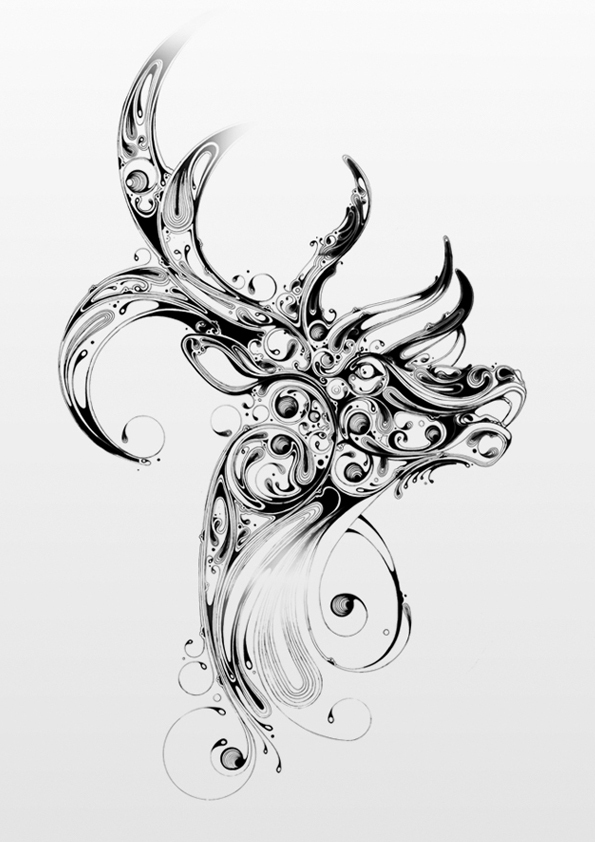Drawn stag Illustrated and Elk swirls Stag
