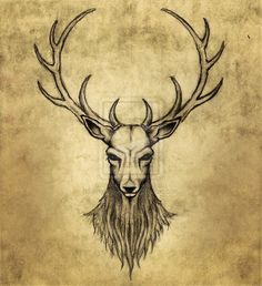 Drawn stag Deer tribal drawing Tattoo Browning