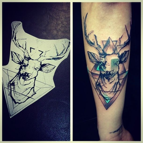 Drawn stag abstract Stags design Stag abstract tattoo