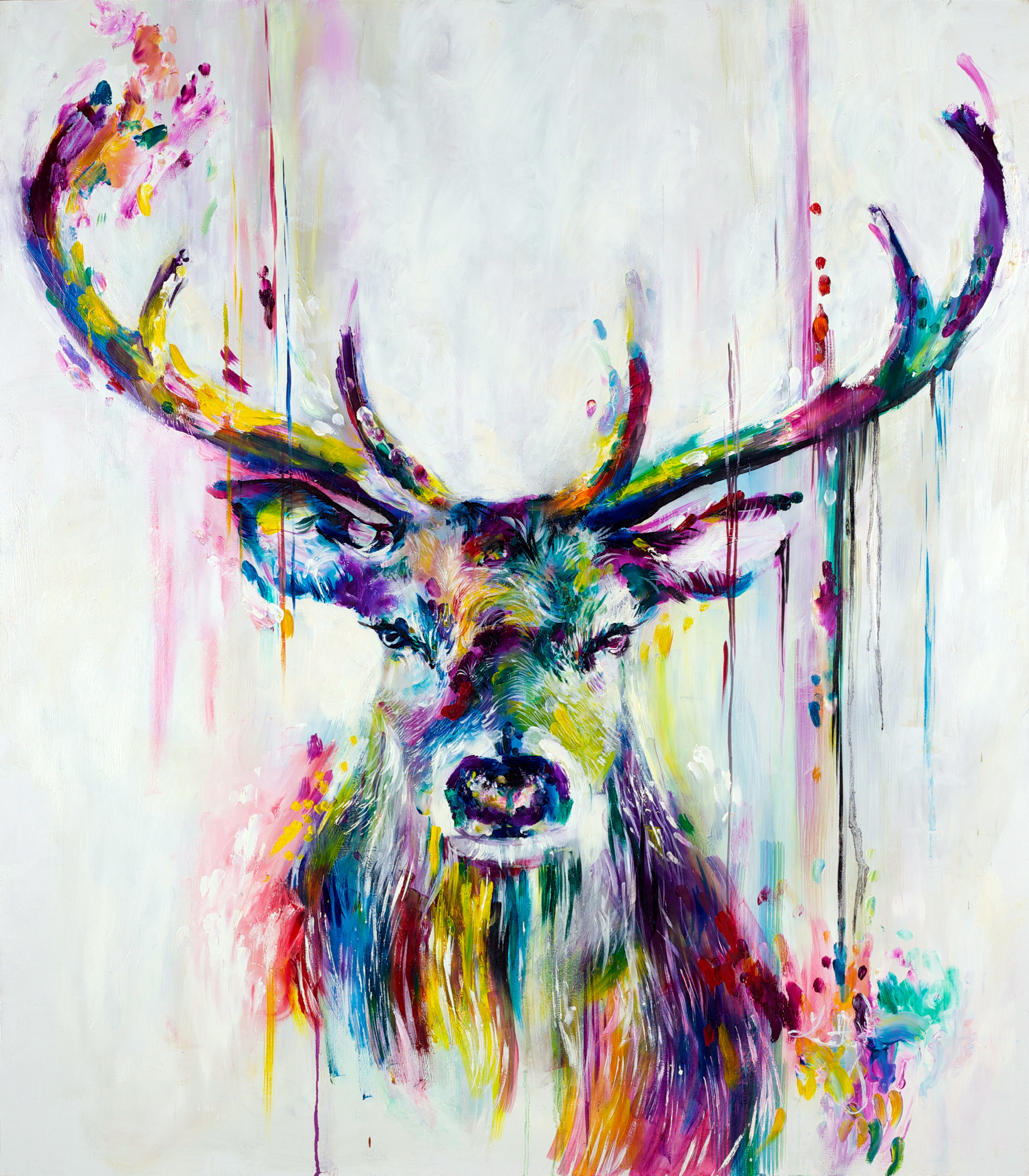 Drawn stag abstract Dobson Oil 'Prism Jade