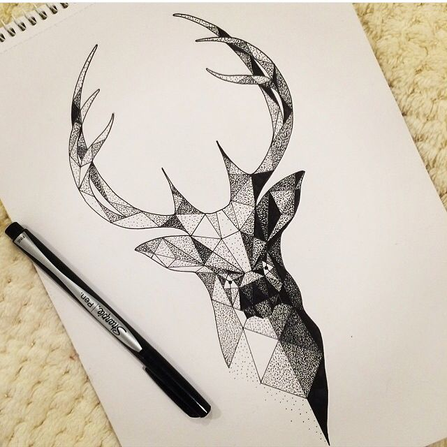 Drawn stag abstract Stag  head work stencil