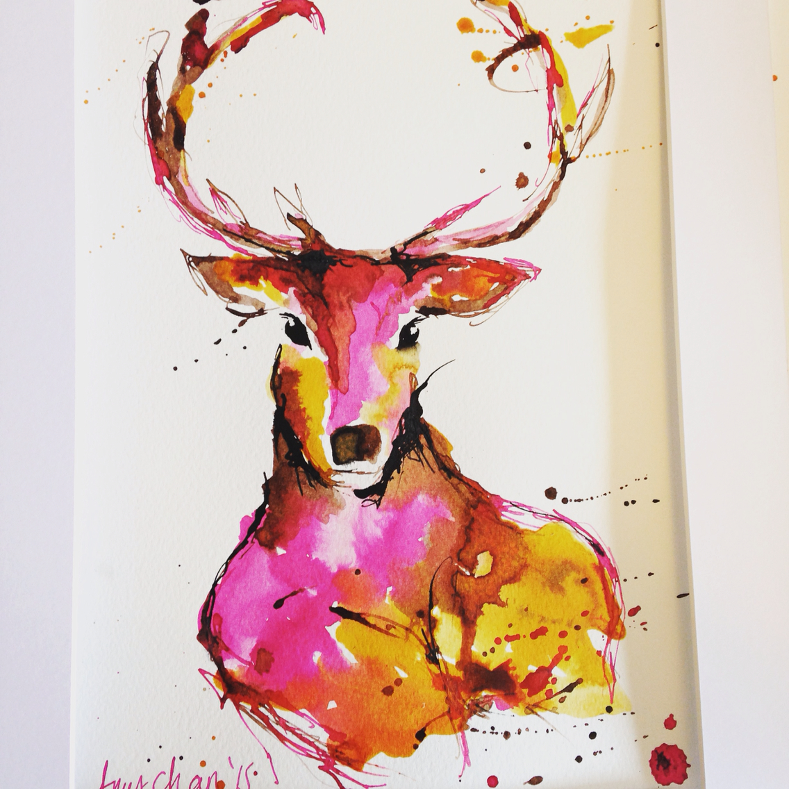 Drawn stag abstract Painted Abstract and Stag pen