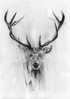Drawn stag abstract FUN 20 CHRISTMAS  TO
