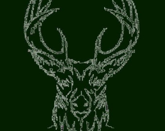 Drawn stag abstract Head map line stag abstract