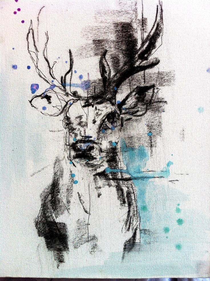 Drawn stag abstract Charcoal Deer on Head Pinterest
